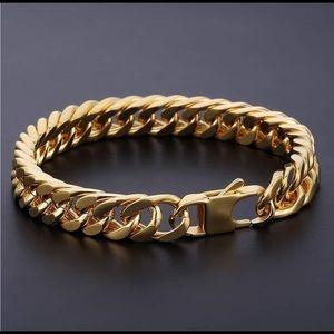 Men's bracelet cuban link gold plated 7-12inch